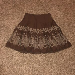 Brown Flare Vintage Skirt